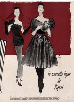 Robert Piguet 1946 René Gruau Fashion Illustration Evening Gown
