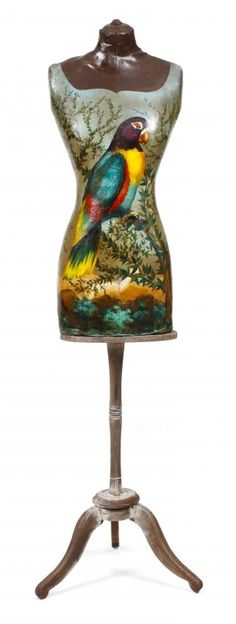 A Decorative Painted Victorian Style Dress Form on Stand