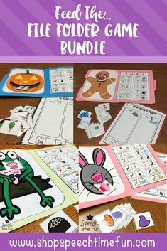 Feed the File Folder Bundle - A perfect speech therapy activity for working with students with Autism, ABA, and working following directions. It is interactive, visual aids, sentence strips, and tons of opportunities for expressive language. For all seasons and holiday of the year.