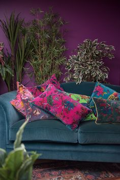 clever home design Purple Cushions, Teal Sofa, Floral Cushions, Purple Cushion Covers, Floral Sofa, Colourful Cushions, Velvet Sofa, Velvet Cushions, Cushions On Sofa
