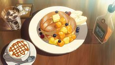 Fluffy Japanese Hotcakes Recipe [Vegan & Gluten-Free Options Available] Anime Bento, Aesthetic Food, Aesthetic Anime, Casa Anime, Anime Scenery Wallpaper, Food Cartoon, Anime Gifts, Think Food, Food Drawing