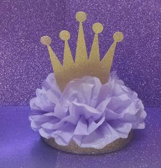 Crown Tiara Glitter Centerpiece Gold Purple or Lavender So Pretty! Lots of sparkle Royal Princess perfect for Sofia First or Rapunzel Birthday Party Table Decor