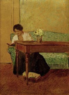 Élisabeth on a green sofa, reading - August Macke 1908