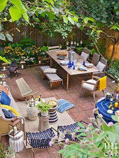 An eclectic mix of seating areas makes up this outdoor retreat tucked behind Brooklyn's busy streets. The terraced brownstone backyard is the perfect gathering space for family and friends.
