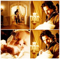 The Musketeers - - An Ordinary Man, Aramis and the Dauphin- Aww the baby stopped crying as he showed him Anne's crucifix The Musketeers Tv Series, Bbc Musketeers, The Three Musketeers, Aramis And Porthos, Aramis And Anne, The Muskateers, Milady De Winter, Tv Show Couples, Howard Charles