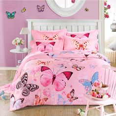 Tencel cotton bed linen reactive printing natural plant flowers queen size bedding set bed cover bedspread butterfly duvet cover
