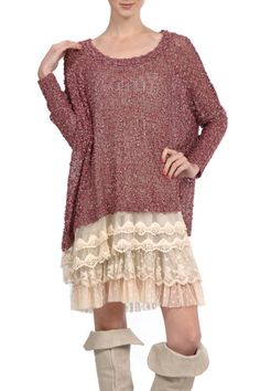 Sweater Tunic Top with Layered Lace Trim Material Content: 72% Acrylic, 28% Polyester Care Instruction: Dry Clean Only