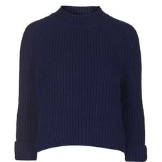 TopShop Boxy Turn Back Cuff Jumper (84 BRL) ❤ liked on Polyvore featuring tops, sweaters, jumpers, shirts, navy blue, topshop sweater, acrylic shirt, boxy sweater, navy blue top and acrylic sweater