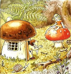 "Elsa Beskow ""Woody, Hazel and little Pip"" Elsa Beskow, Munier, Mushroom Art, Folk, Children's Book Illustration, Vintage Pictures, Faeries, Woodland Creatures, Illustrators"