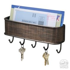 Wall Mount Mail/Key Rack. Bronze Contemporary woven mesh Twillo design blends with any RV interior. Great way to stay organized!