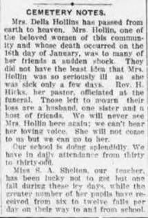 """""""Cemetery Notes,"""" Nashville Globe, February 8, 1918 :: Cemetery, a Freedmen's Community, Rutherford County, Tennessee"""