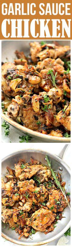 GARLIC SAUCE CHICKEN! Pan-Seared Chicken Thighs prepared with an amazing garlic sauce.