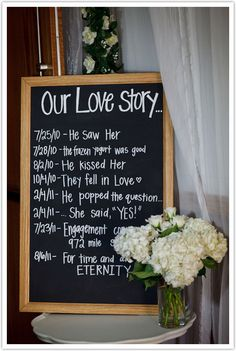 Display your love story for all to read on your #wedding day! So sweet.