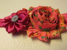 Baby-Toddler-Girl Ladys Rhinestone Pink Tattered Rose  Headband Hair Bow b1-53 #Handmade