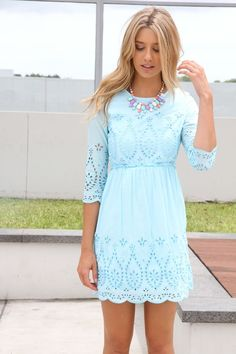 Aqua dress with lace and long sleeve
