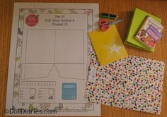 Doll play - printable pattern to make doll sized school supplies like folders, ID cards, calculator and ruler.