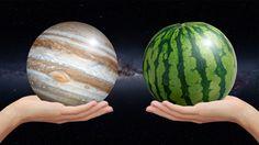 Planetas del sistema solar y frutas: tamaños relativos