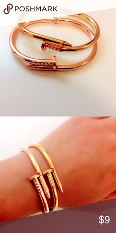🚨⏰Final price🚨🆕Gold nail bracelet/cuffs Brand new. Listing is for the gold bracelet. Also available in rose gold. Please comment below and I can create a bundle. ‼️Please ❌trade and ❌offers‼️ Comes in a beautiful gold pouch. Elegant Jewelry Jewelry Bracelets