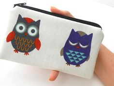 LIMITED Imported Linen Zipper Pouch Coin Purse ECO Friendly Padded NEW Two Owls by JPATPURSES, $14.00