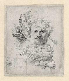 B370, Rembrandt, Schetsblad met zelfportret, een bedelaar en een vrouw met kind, ca. 1648. Ets en burijn, enige staat, 111 x 92 mm, Museum het Rembrandthuis.