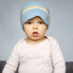 32d2273e28a Melondipity Little Boy Crochet Visor Beanie Baby Hat - Handmade Blue Knit  with Brown Stripes - Sizes  newborn