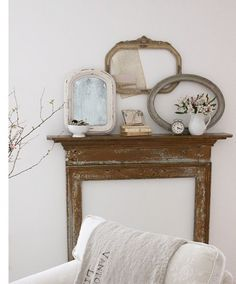 Create your own fireplace mantel... love the decor.