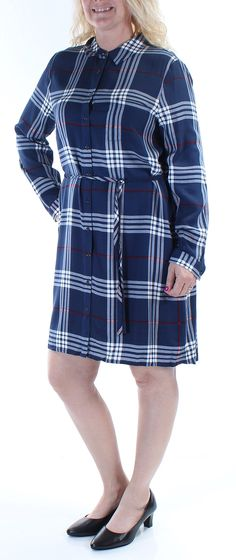 14971c0a41 Two by Vince Camuto Womens L s Legion Plaid 2pkt Shirtdress Naval Navy  Large