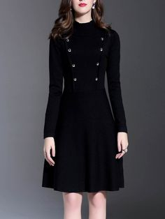 #AdoreWe StyleWe Midi Dresses - Y&M Black Turtleneck Long Sleeve Buttoned Plain Midi Dress - AdoreWe.com