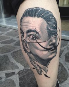Tattoos by Gianpiero Cavaliere, inspired by surrealistic art Traditional Tattoo Black And Grey, Traditional Tattoo Design, Traditional Tattoo Flash, Black And Grey Tattoos, Time Tattoos, Body Art Tattoos, Hand Tattoos, Salvador Dali Tattoo, Henna Leg Tattoo