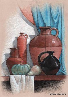 стилизованный натюрморт рисунок - пастель