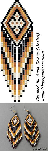 Схема этно-серег - мозаика / кирпичное плетение - free peyote earrings pattern