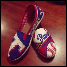 Texas Rangers painted shoes