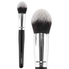 Classic Tapered Kabuki Stick Synthetic has really soft, pliable bristles.  It is not dense enough to blend out liquid or cream products.  It's good for pouncing setting powder over foundation, but it's not a must have brush for me.