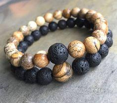 "8mm/10mm Couples Bracelets Friendship ""Missing Link"" Picture Jasper Volcanic Lava Bracelet, Natural Stone Bracelet, Beaded Elastic Bracelet"