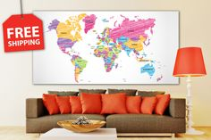 Giant world map for wall decor. XXl stretched canvas world map set for home
