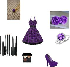 """Purple and Black"" by mindiblue2 ❤ liked on Polyvore"