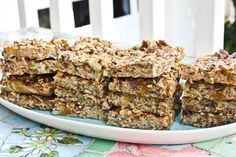Baked Oatmeal Snack Bars  Ingredients:      1.5 cups rolled oats      1/2 cup chopped walnuts [or any nuts you like]      1/2 cup dried fruit (any you like – raisins, cranberries, dates, figs)      1/4 cup seeds (any you like – sunflower, pumpkin, flax, sesame)      1 tsp cinnamon      1 tsp kosher salt      1.25 cups skim milk      1 egg      1 tsp vanilla