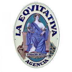 """Seltenes Emailschild """"Eqvitativa"""" Agencia (Versicherung). Spanien 1900 - 1920"""