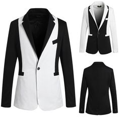 One Button Slim Fit Black and White Color Contrast Blazer Mens Fashion Suits, Blazers For Men, Black And White Colour, Contrast, Buttons, Fitness, Jackets, Outfits, Collection