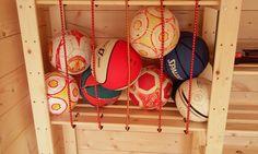 "Ball storage solution in a ""Hejne"" shelf from Ikea"