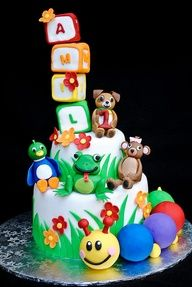 Baby Einstein cake - love this worm at the bottom Fancy Cakes, Cute Cakes, Pollo Animal, Beautiful Cakes, Amazing Cakes, Baby Einstein Party, Cake Original, Foundant, Cake Boss