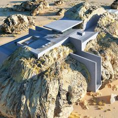 Architectural designer Amey Kandalgaonkar has created renderings of House Inside a Rock, a concept for a modernist concrete house built within a giant rock. Modern Architecture House, Futuristic Architecture, Concept Architecture, Modern House Design, Architecture Design, Boulder House, Luxury Boat, Zaha Hadid Architects, Luxury Houses