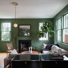 Green Living Room with fiddle leaf fig, Workstead pendant light from Another Country and USM Haller sideboard. Living Room Green, Green Rooms, Living Room Colors, Living Room Sets, Dark Furniture, Living Furniture, Furniture Design, Asian Bedroom, Asian Interior Design