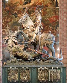signorcasaubon:Bernt Notke's famous statue of Saint George and the Dragon at the Storkyrkan (Stockholm domkyrka/ Church of Saint Nicholas), quite possibly the most imaginative treatment of the subject I've encountered. George & Dragon, Saint George And The Dragon, St Nicholas Church, Saint Nicholas, Middle Ages History, Renaissance Art, Weird And Wonderful, Religious Art, Medieval