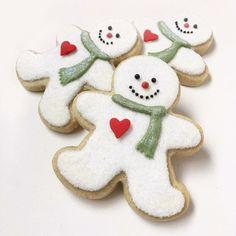 #5 -Christmas Snowmen Fancy Cookies, Iced Cookies, Cute Cookies, Royal Icing Cookies, Cupcake Cookies, Cookies Et Biscuits, Christmas Sugar Cookies, Christmas Snacks, Christmas Candy