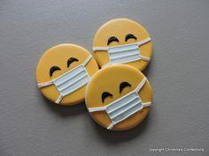 Emoji with face mask- Sick emoji- Pandemic Emoji- Nurse or Doctor Emoji Fancy Cookies, Valentine Cookies, Iced Cookies, Cake Cookies, Sugar Cookies, Christmas Cookies, Cupcake Cakes, Cookie Favors, Heart Cookies