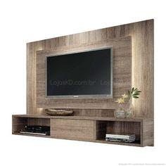 Painel para TV até 47 Polegadas Lume com 1 Porta de Correr e Fita LED 133 x 180 x 32,5 Roble Graffiato - HB Móveis