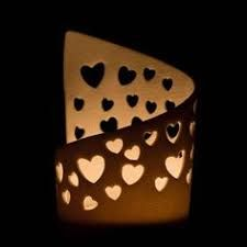 Delicate Translucent Pierced Porcelain Hearts Tea Light Candle Holder Made from thin slabs of translucent porcelain clay, decorated with pierced different sized hearts. This Tea Light holder has not been glazed as the results are that the porcelain is . Pottery Tools, Slab Pottery, Ceramic Pottery, Porcelain Clay, Ceramic Clay, Diy Clay, Clay Crafts, Pottery Courses, Lampe Decoration