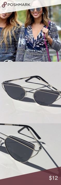 """NWT    Silver Wire Cat Eye Aviator Flat Sunglasses Limited quantities. 2016 New Cat Eye Aviator Sunglasses Women Fashion Metal Frame Sun Glasses. 5.4"""" x 1.9"""" approximately. Available in Silver Frame/Black Lense. Note: first pic is for style reference only. Accessories Sunglasses"""