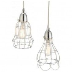 Lazy Susan Wire Rose and Barrel Pendant Light - Silver